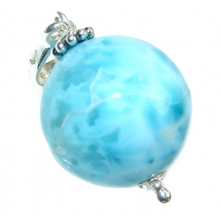 Blue Planet Dominican Larimar Circular Sphere .925 Sterling Silver handmade pendant