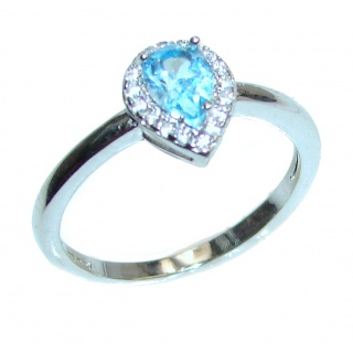 Swiss Blue Topaz .925 Sterling Silver handmade Ring size 6