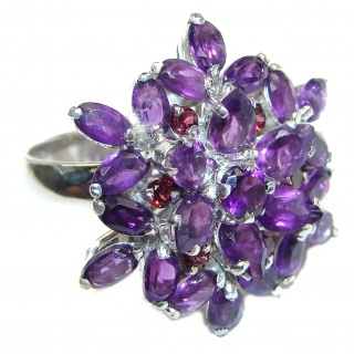 Spectacular Natural Amethyst .925 Sterling Silver handcrafted ring size 8
