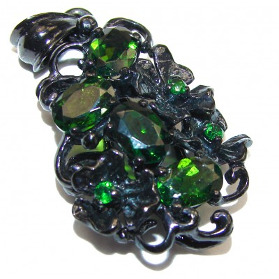 Authentic Chrome Diopside black rhodium over .925 Sterling Silver Pendant