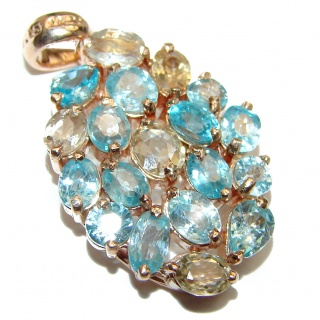 Swiss Blue Topaz 14K Gold over .925 Sterling Silver handmade Pendant