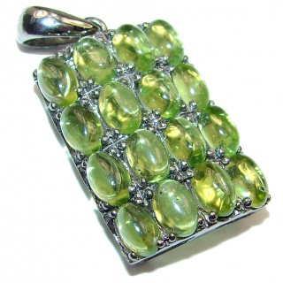 Royal quality genuine Peridot black rhodium .925 Sterling Silver handcrafted Pendant