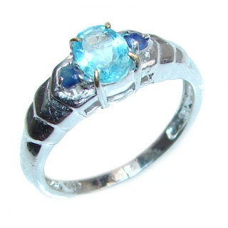 Swiss Blue Topaz .925 Sterling Silver handmade Ring size 7