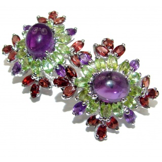 Julietta Large Authentic Peridot Amethyst .925 Sterling Silver handmade earrings