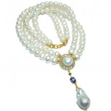 Tsarist heirloom Pearl Mother of Pearl  14K Gold over .925 Sterling Silver handmade Necklace