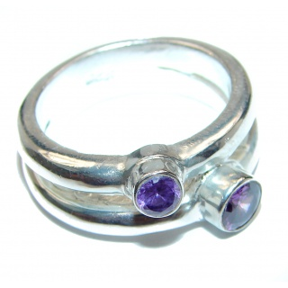 Spectacular Natural Amethyst .925 Sterling Silver handcrafted ring size 8 1/2
