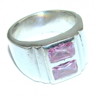 Fantastic Created Pink Kunzite Sterling Silver ring s. 6 1/2