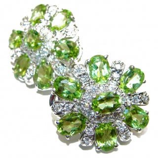 Aurora Spectacular Authentic Peridot .925 Sterling Silver handmade earrings
