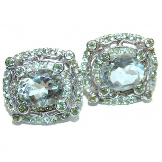 Alessandra Large Authentic Green Amethyst .925 Sterling Silver handmade earrings