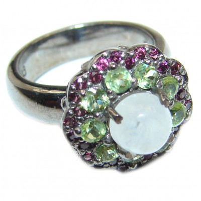 Angelica Rainbow Moonstone Ruby Black rhodium over .925 Sterling Silver handmade Ring size 7 1/4