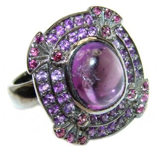 Miriam Spectacular Natural Amethyst black rhodium over .925 Sterling Silver handcrafted ring size 8