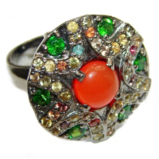 Bianca Genuine Carnelian Sapphire .925 Sterling Silver handmade Ring Size 7 1/2