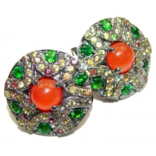 Bianca Authentic Carnelian Tourmaline rhodium over .925 Sterling Silver handmade earrings
