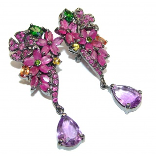 Valentina Authentic Ruby Emerald Yellow Sapphire .925 Sterling Silver handmade earrings
