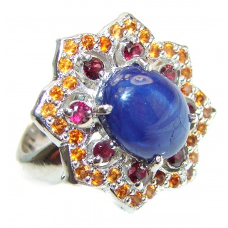 Royal quality unique Blue Star Sapphire .925 Sterling Silver handcrafted Ring size 8