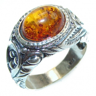 Excellent Vintage Design Baltic Amber .925 Sterling Silver handcrafted Ring s. 6 3/4