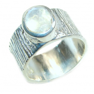 Fire Moonstone .925 Sterling Silver handmade Ring size 8