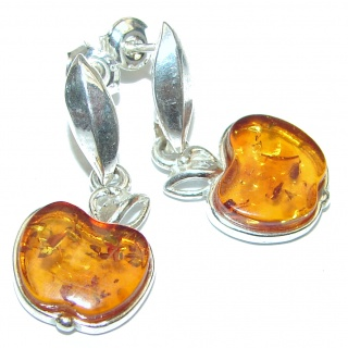 Lucky Apple Baltic Amber .925 Sterling Silver handcrafted Earrings