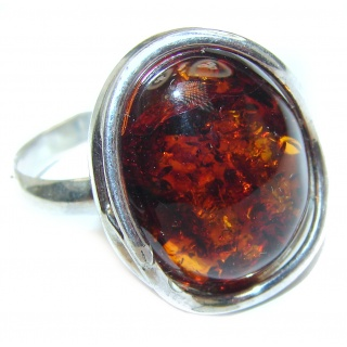 Vintage Design Baltic Amber .925 Sterling Silver handcrafted Ring s. 9 1/4