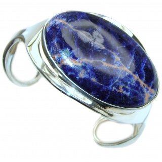 Dramatic Design Sodalite .925 Sterling Silver handmade LARGE Bracelet / Cuff