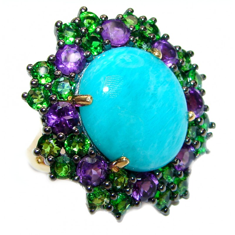 Amazonite-Chrome Diopside - Amethyst cocktail ring