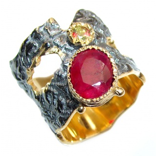 Genuine Ruby 18K Gold .925 Sterling Silver handcrafted Statement Ring size 5 3/4
