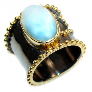 Simple Beauty Natural Larimar .925 Sterling Silver handcrafted Ring s. 7