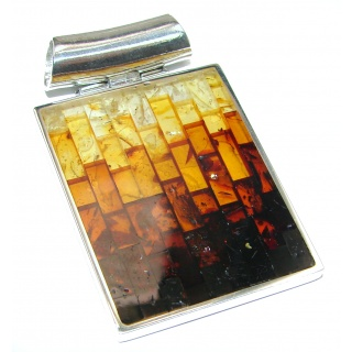 Handcrafted Mosaic Polish Amber .925 Sterling Silver handcrafted Pendant