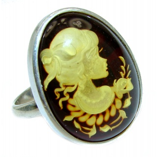 Beautiful Authentic Cameo Baltic Amber .925 Sterling Silver handcrafted ring; s. 8 adjustable