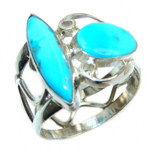 Natural Sleeping Beauty Turquoise .925 Sterling Silver handcrafted Ring s. 9