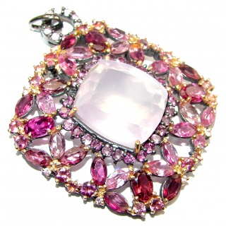 Vintage Design Pink Sapphire Rose Quartz 18K Gold over .925 Sterling Silver handcrafted Pendant & Brooch