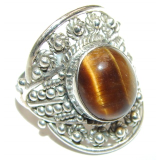 Tiger Eye .925 Sterling Silver handmade Poison Ring size 7 1/2