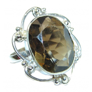 Authentic Smoky Quartz .925 Sterling Silver handcrafted ring s. 6