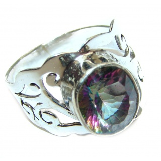Perfect Mystic Topaz Sterling Silver Ring s. 8 3/4