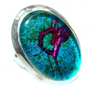 Dichroic Glass .925 Sterling Silver handcrafted Ring s. 7 1/2