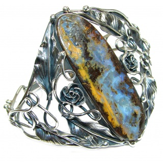 Large Norwegian Northern Lights genuine Boulder Opal handcrafted .925 Sterling Silver Bracelet