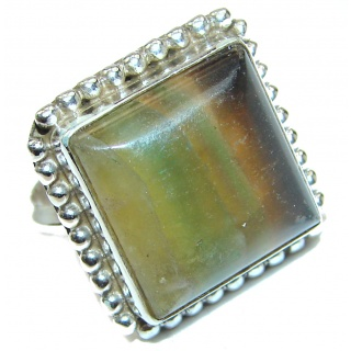 Huge Exotic Fluorite Sterling Silver Ring s. 8