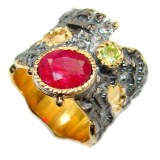 Genuine Ruby 18K Gold .925 Sterling Silver handcrafted Statement Ring size 6 3/4