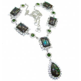 Best quality Natural Canadian Ammolite .925 Sterling Silver handmade necklace