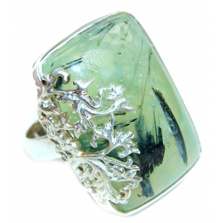 Sublime Moss Prehnite .925 Sterling Silver ring; s. 7 3/4