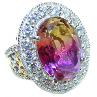 Huge Top Quality Ametrine 18K Gold over .925 Sterling Silver handcrafted Ring s. 7 1/4
