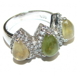 Exclusive Natural Moss Prehnite .925 Sterling Silver handmade ring s. 8