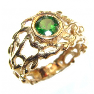 Natural Chrome Diopside 24K Rose Gold over .925 Sterling Silver Statement ring size 7