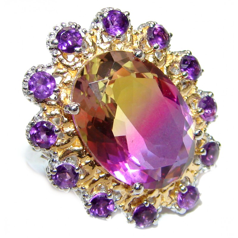 HUGE Bi-color Ametrine 14K Gold over .925 Sterling Silver handcrafted Ring s. 7 1/2