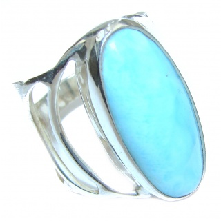 Dominican Republic Larimar .925 Sterling Silver handcrafted Ring s. 9