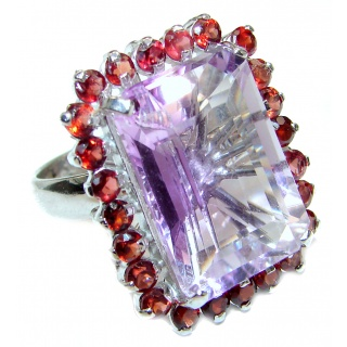 Large Spectacular Pink Amethyst .925 Sterling Silver handcrafted ring size 8
