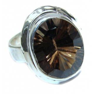 Authentic Smoky Quartz .925 Sterling Silver handcrafted ring s. 7