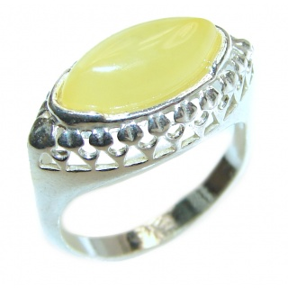 Vintage Design Baltic Amber .925 Sterling Silver handcrafted Ring s. 6 1/2