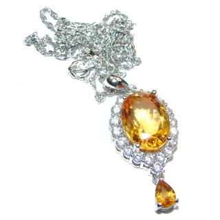Artisan MasterPiece genuine Citrine .925 Silver handcrafted Necklace