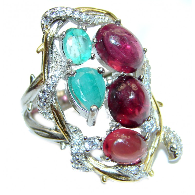 Valentina Large Genuine Ruby Emerald .925 Sterling Silver handcrafted Statement Ring size 6 1/4